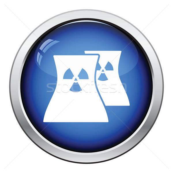Nukleáris állomás ikon fényes gomb terv Stock fotó © angelp