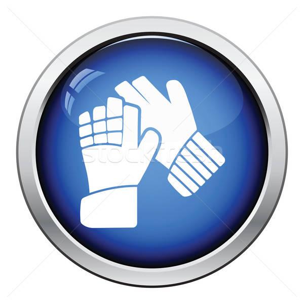Symbol Fußball Torhüter Handschuhe glänzend Taste Stock foto © angelp