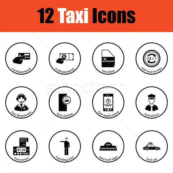 Foto stock: Conjunto · doze · táxi · ícones · fino