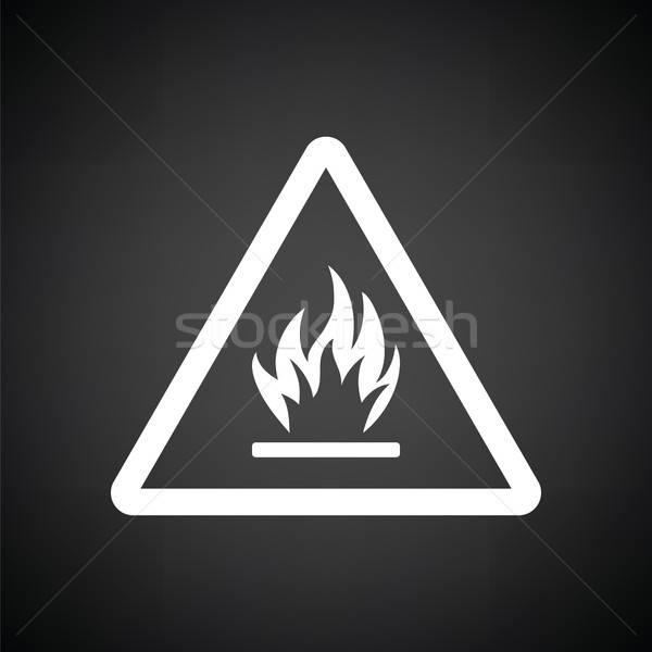 Gyúlékony ikon feketefehér biztonság ipari fekete Stock fotó © angelp