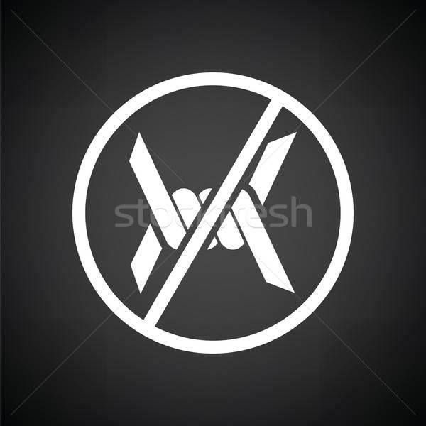 Dikenli tel ikon siyah beyaz doku savaş siyah Stok fotoğraf © angelp
