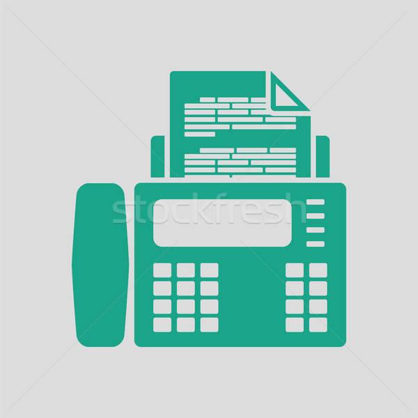 Fax icône gris vert ordinateur papier Photo stock © angelp