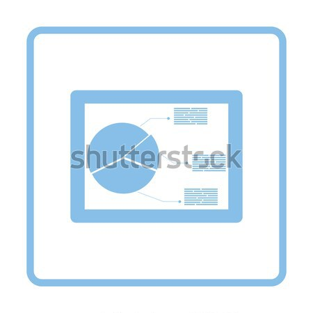 Tablet analytics diagram icon glanzend knop Stockfoto © angelp