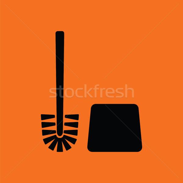 Toilettes brosse icône orange noir maison Photo stock © angelp