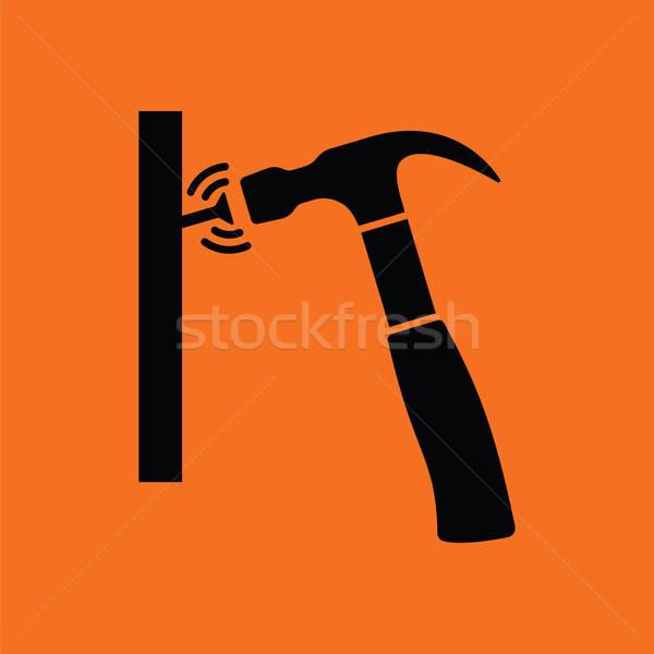 ícone martelo bater prego laranja preto Foto stock © angelp