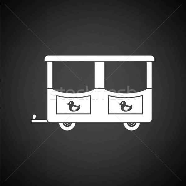 Vagon gyerekek vonat ikon feketefehér boldog Stock fotó © angelp