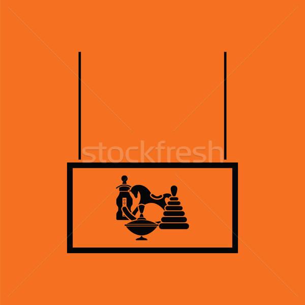 Brinquedos mercado departamento ícone laranja preto Foto stock © angelp