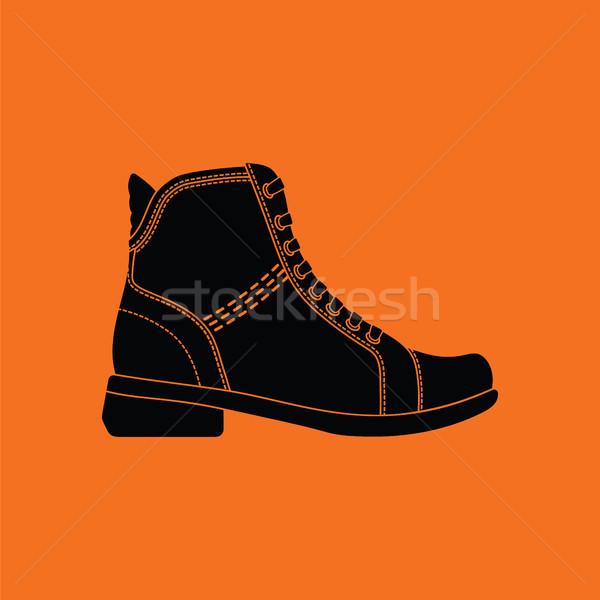 Nő csizma ikon narancs fekete terv Stock fotó © angelp