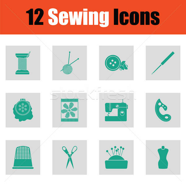 Set of twelve sewing icons Stock photo © angelp