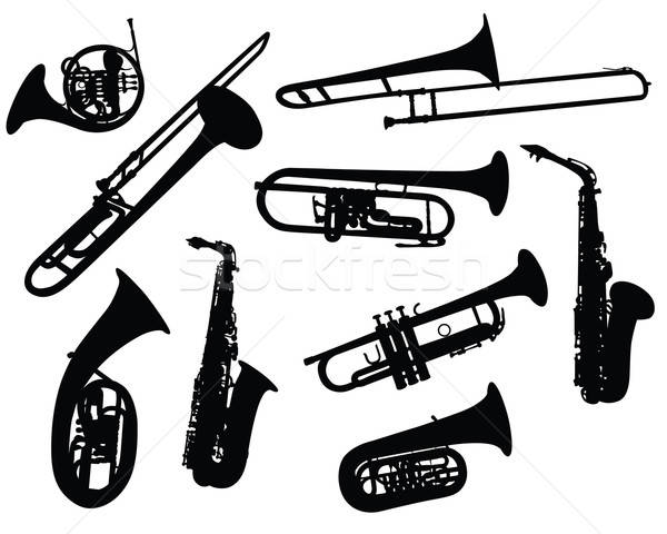 silhouettes of wind instruments Stock photo © angelp