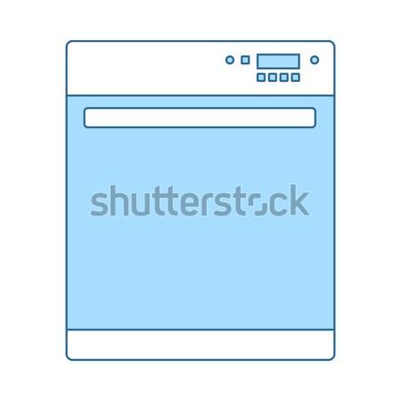 Kuchnia zmywarka maszyny ikona domu tle Zdjęcia stock © angelp