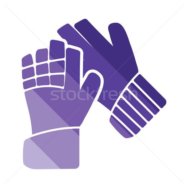 Fußball Torhüter Handschuhe Symbol Farbe Design Stock foto © angelp