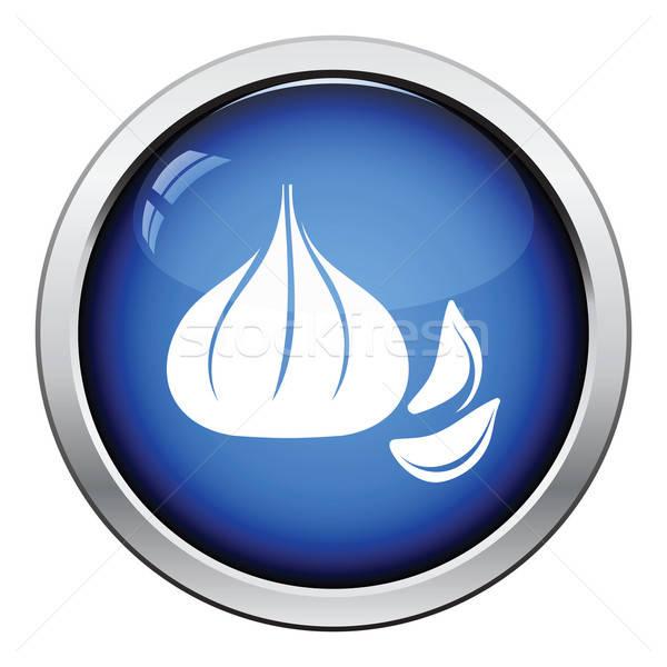 чеснока икона кнопки дизайна фон Сток-фото © angelp