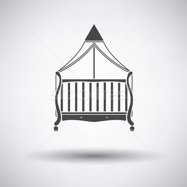 Wiege Symbol grau Baby Kinder Zimmer Stock foto © angelp