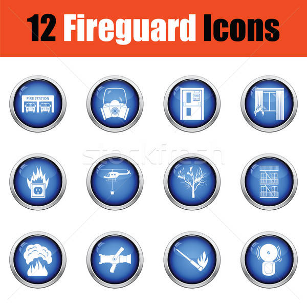 Set of fire service icons.  Stock photo © angelp