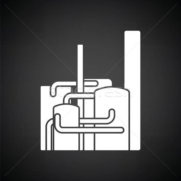 Chimiques usine icône blanc noir affaires construction Photo stock © angelp