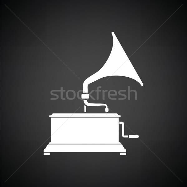 ストックフォト: 蓄音機 · アイコン · 黒白 · 音楽 · 背景 · 芸術