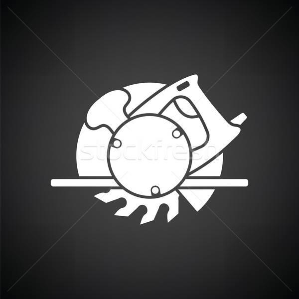 Circulaire vu icône blanc noir bâtiment construction Photo stock © angelp