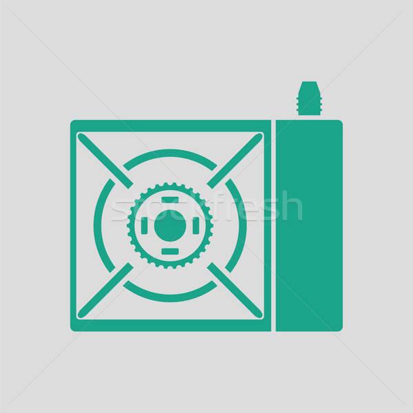 Camping gas estufa icono gris verde Foto stock © angelp