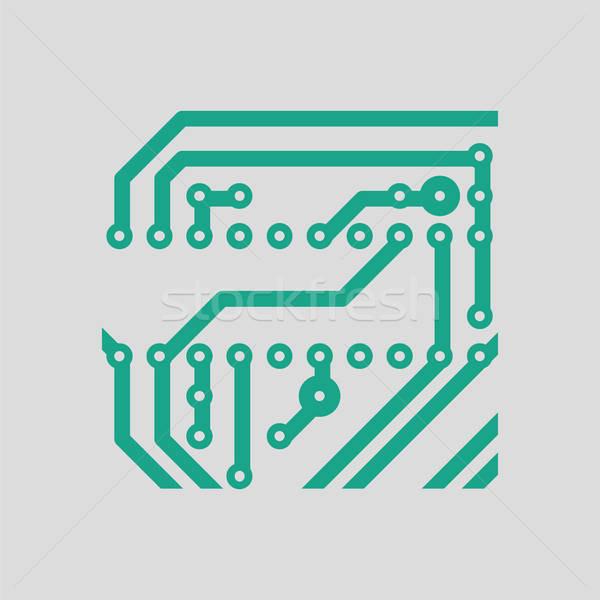 Circuito icona grigio verde tecnologia arte Foto d'archivio © angelp