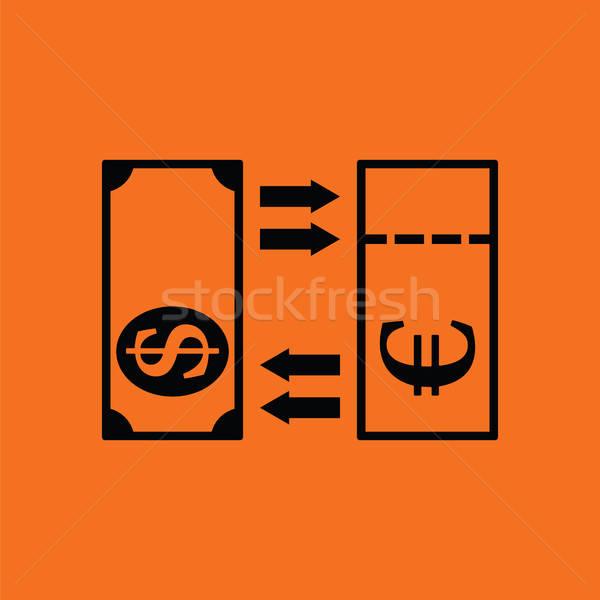 Valuta csere ikon narancs fekete üzlet Stock fotó © angelp