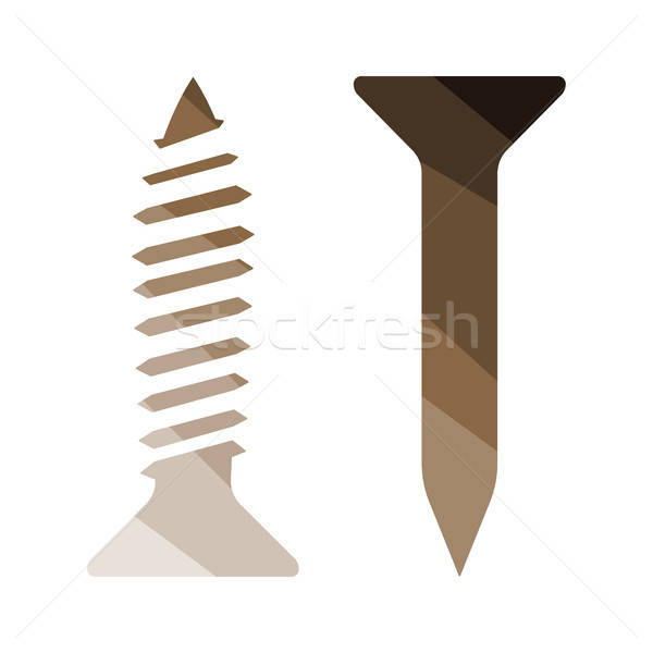 Icon of screw and nail Stock photo © angelp