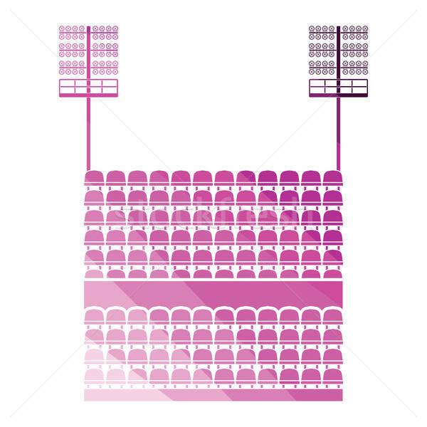 Stadium tribune with seats and light mast icon Stock photo © angelp