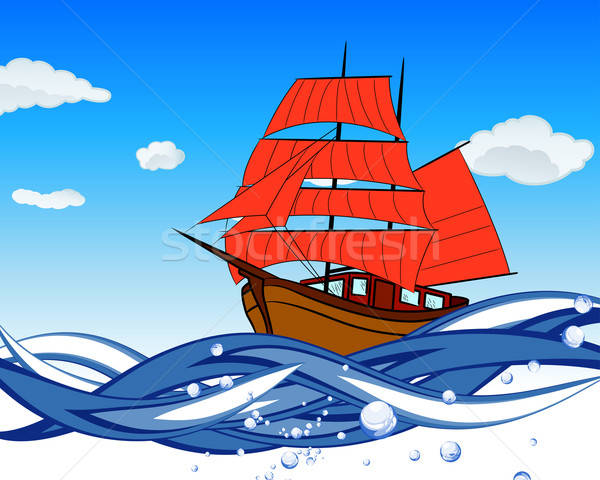 Sailboat With Scarlet Sail Stock photo © angelp