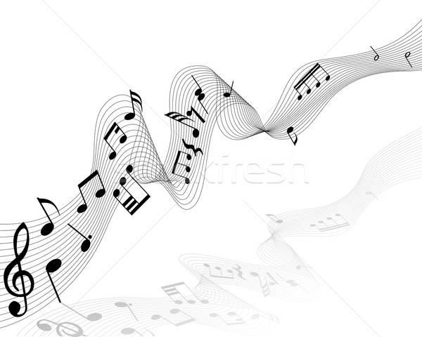 Jegyzetek hangjegyek vonalak háttér diszkó festmény Stock fotó © angelp