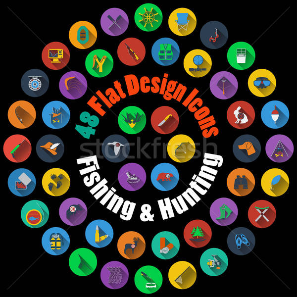 Hunting and Fishing Icons  Stock photo © angelp