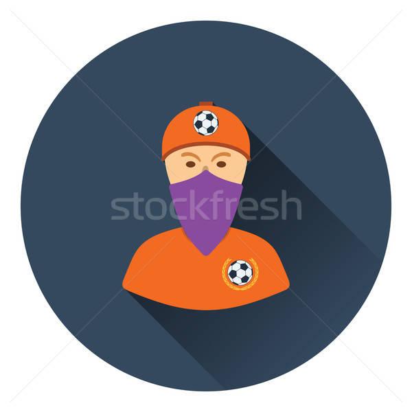 Futball ventillátor fedett arc sál ikon Stock fotó © angelp