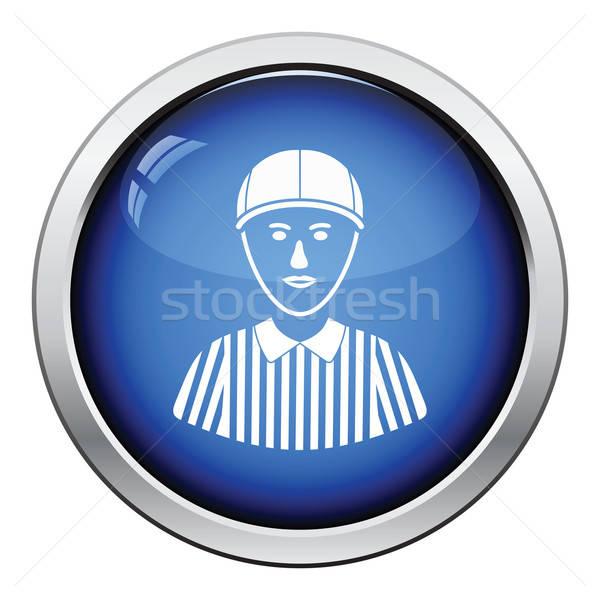 Amerikai futball döntőbíró ikon fényes gomb Stock fotó © angelp