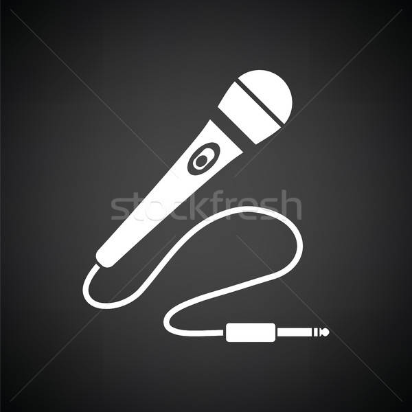 Karaoke micrófono icono blanco negro signo radio Foto stock © angelp