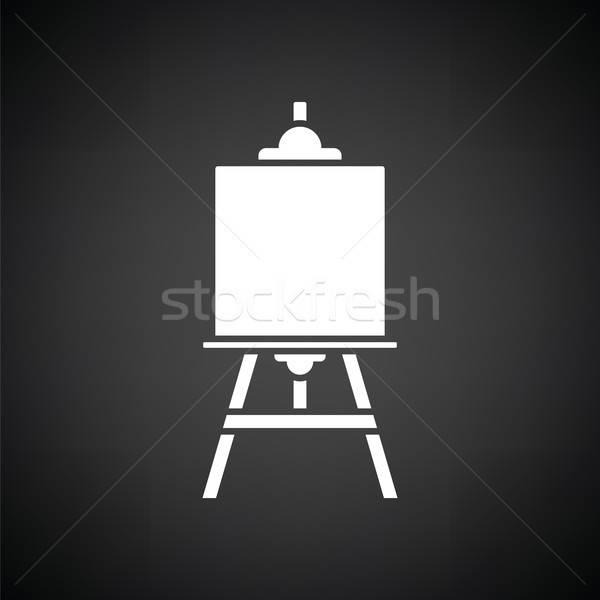 Festőállvány ikon feketefehér fa festék űr Stock fotó © angelp