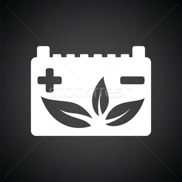 автомобилей батареи лист икона черно белые технологий Сток-фото © angelp