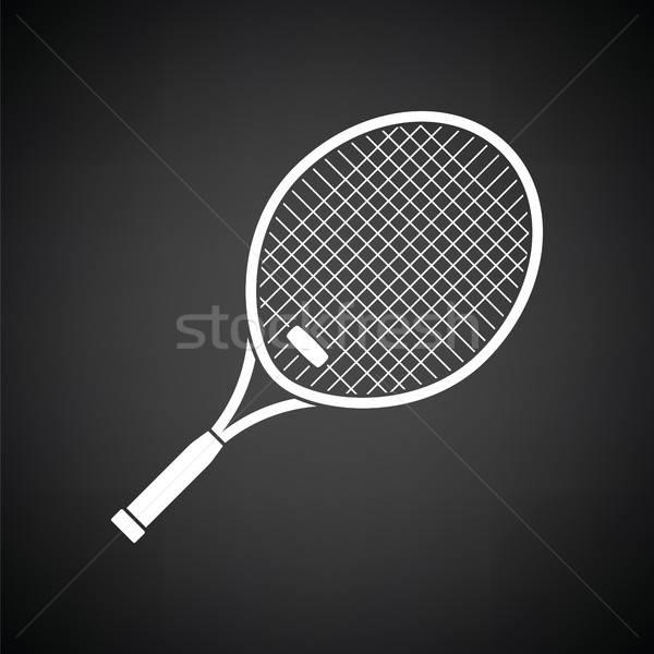Racchetta da tennis icona bianco nero legno sport tennis Foto d'archivio © angelp