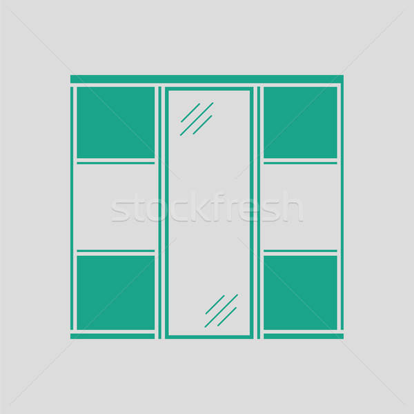 Dolap klozet ikon gri yeşil moda Stok fotoğraf © angelp