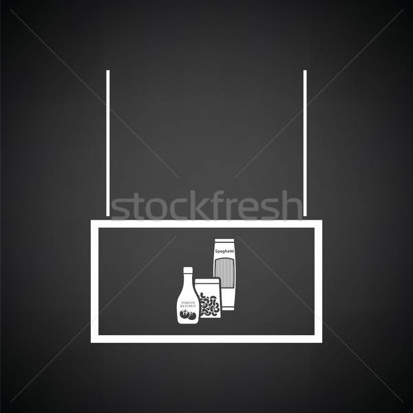 Comestibles mercado departamento icono blanco negro signo Foto stock © angelp