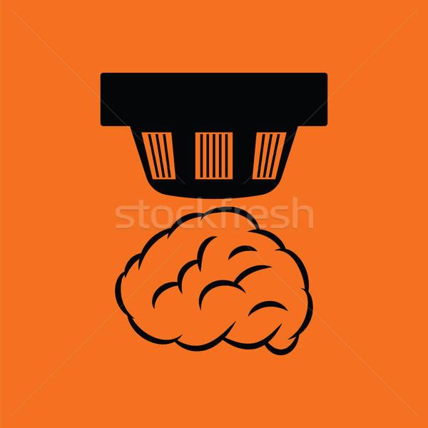 Rauch Sensor Symbol orange schwarz Haus Stock foto © angelp