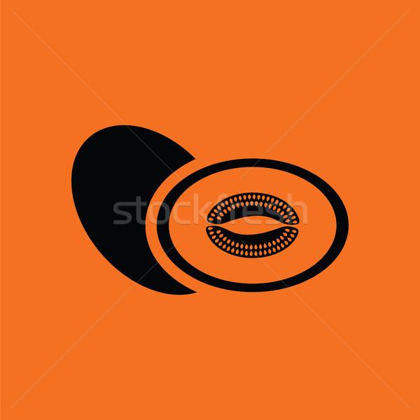 Melon icône orange noir signe étiquette Photo stock © angelp