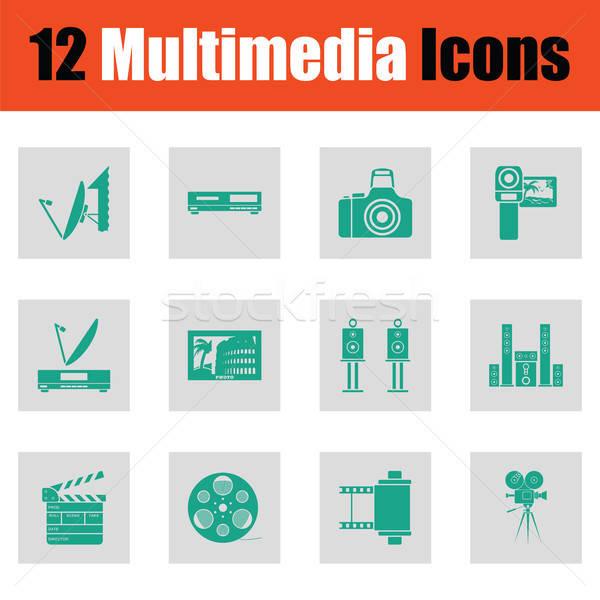 Foto stock: Conjunto · multimídia · ícones · verde · cinza