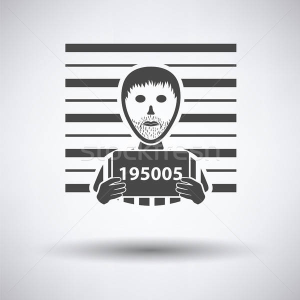 Stock photo: Prisoner in front of wall with scale icon