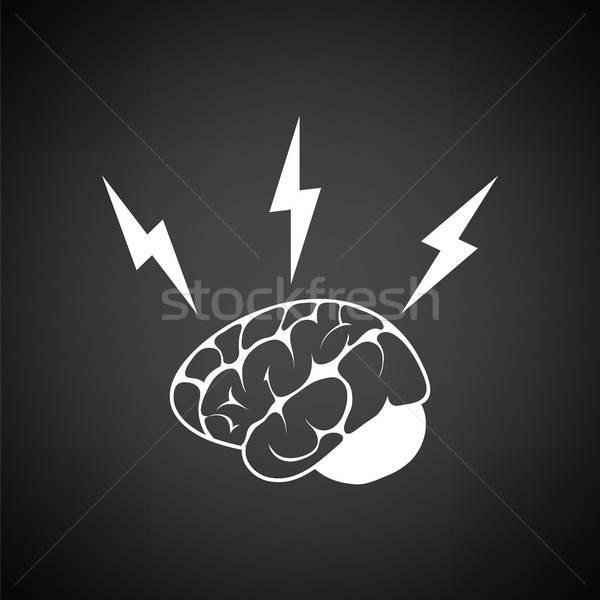 Burza mózgów ikona czarno białe internetowych czasu mózgu Zdjęcia stock © angelp