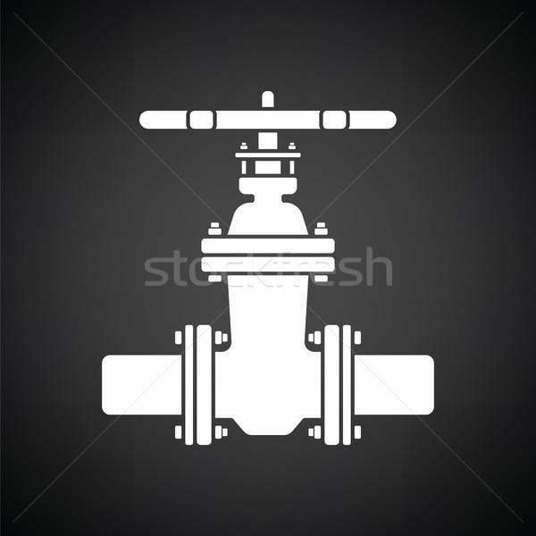 трубы клапан икона черно белые бизнеса промышленности Сток-фото © angelp