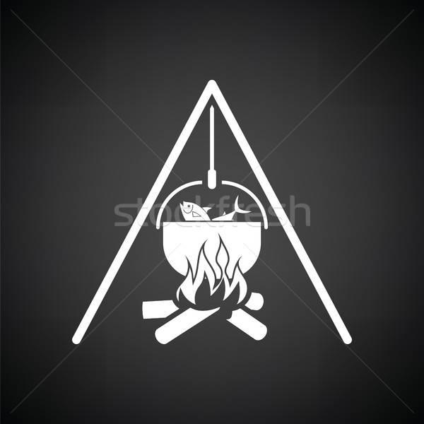 Icon brand vissen pot zwart wit water Stockfoto © angelp