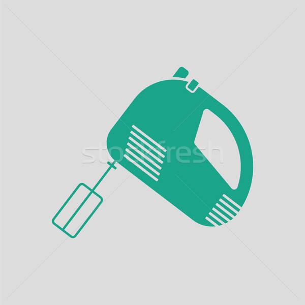 Konyha kéz keverő ikon szürke zöld Stock fotó © angelp
