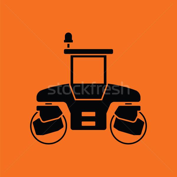 Symbol Straße orange schwarz Bau Hintergrund Stock foto © angelp