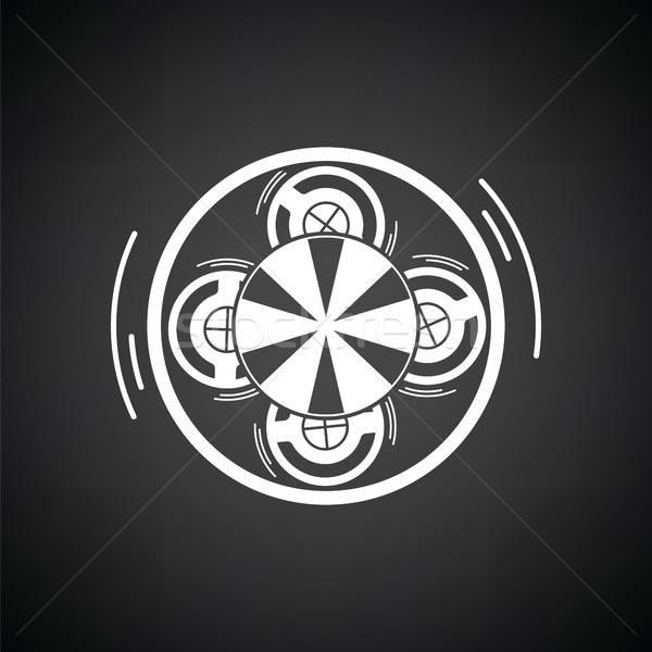карусель Top мнение икона черно белые интернет Сток-фото © angelp