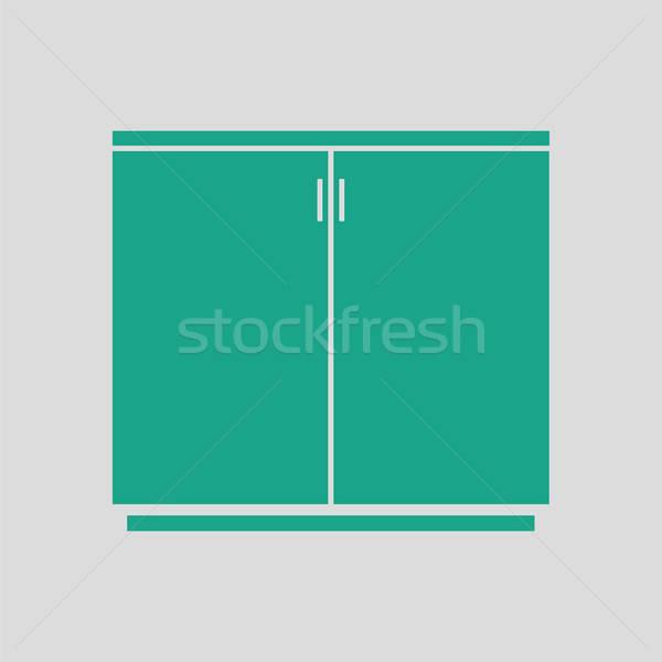Iroda faliszekrény ikon szürke zöld háttér Stock fotó © angelp