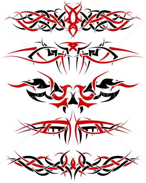 schwarz rot muster tribal tattoo design vektor grafiken pavel konovalov angelp. Black Bedroom Furniture Sets. Home Design Ideas